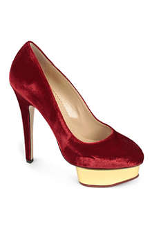 CHARLOTTE OLYMPIA Jingle Bell Dolly velvet platform courts