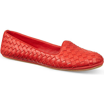 BOTTEGA VENETA Woven carpet slippers (Red