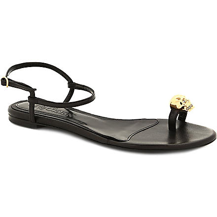 ALEXANDER MCQUEEN Skull leather sandals (Black
