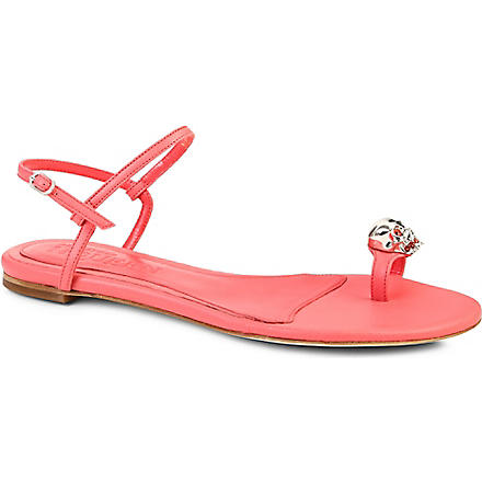 ALEXANDER MCQUEEN Skull leather sandals (Fushia
