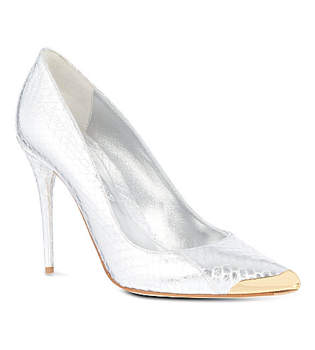 ALEXANDER MCQUEEN Snake-look leather courts (Silver