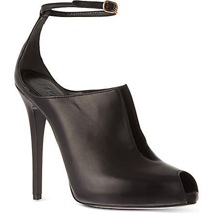ALEXANDER MCQUEEN Vamp leather peep toe courts (Black