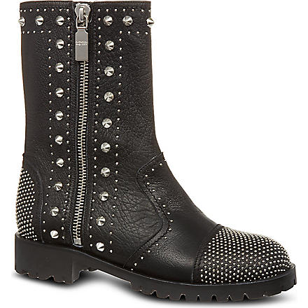 ALEXANDER MCQUEEN Studded leather biker boots (Black