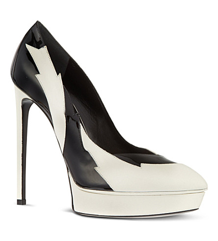 SAINT LAURENT Two-tone lightening 105 pumps (Blk/white