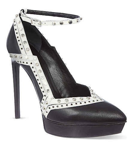 SAINT LAURENT Two tone heels in leather (Blk/white