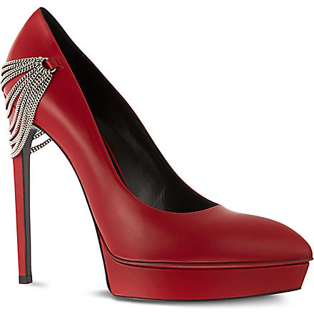 SAINT LAURENT Escarpin 105 chain court shoes (Red
