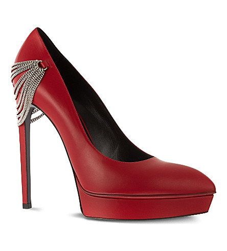 SAINT LAURENT Classic Janis escarpin chained pumps in red leather (Red
