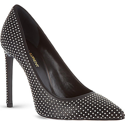 SAINT LAURENT Studded stiletto courts (Black