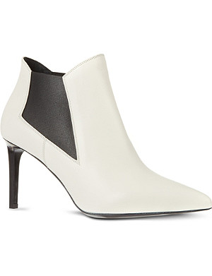 SAINT LAURENT Classic Paris chelsea ankle boots in white leather
