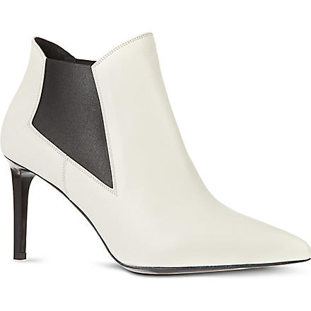 SAINT LAURENT Classic Paris chelsea ankle boots in white leather (White