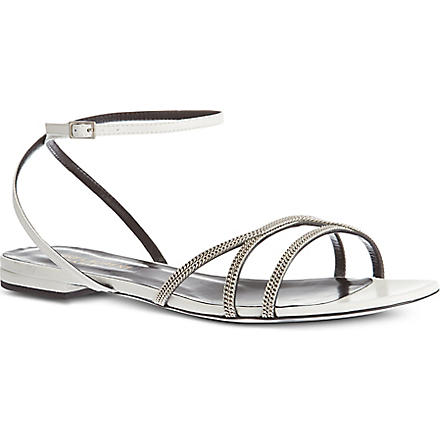 SAINT LAURENT Chain sandals (White