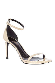 SAINT LAURENT Classic Jane ankle strap sandals in nude patent leather