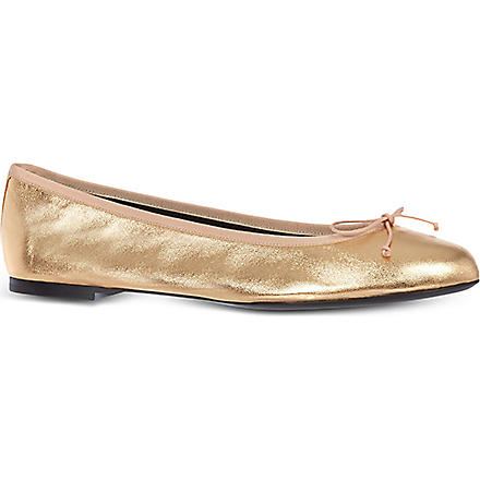SAINT LAURENT Metallic leather ballerina flats (Bronze