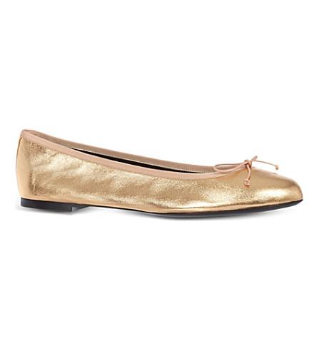 SAINT LAURENT Metallic leather ballerina flats (Bronze