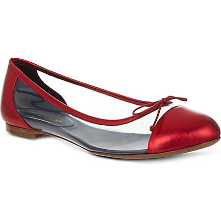 SAINT LAURENT Toe cap ballerina pumps (Red