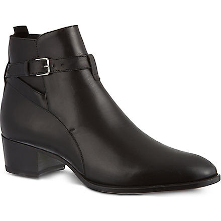 SAINT LAURENT Signature jodhpur ankle boots in black leather (Black