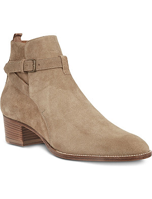 SAINT LAURENT Signature jodhpur boots in beige suede