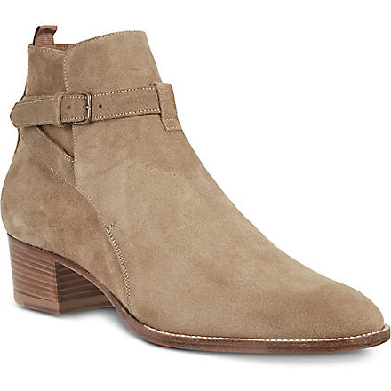 SAINT LAURENT Buckled suede ankle boots (Taupe