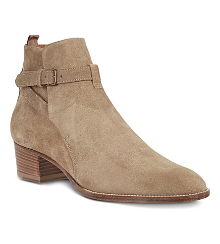 SAINT LAURENT Signature jodhpur boots in beige suede (Taupe