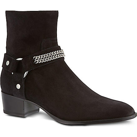 SAINT LAURENT Biker chain ankle boots (Black