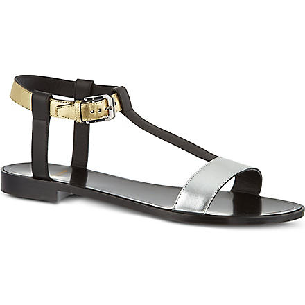 SAINT LAURENT T-bar metallic sandals (Black/comb