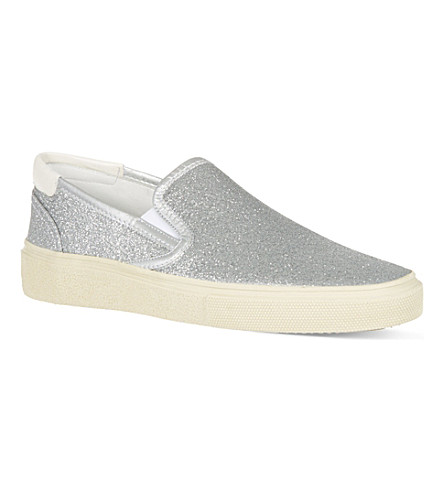 SAINT LAURENT Glitter skate shoes (Silver