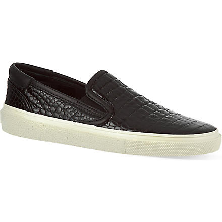 SAINT LAURENT Classic skate slip-on sneakers in black leather (Black