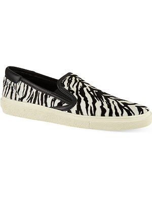 SAINT LAURENT Skate slip-on sneakers in zebra print ponyskin