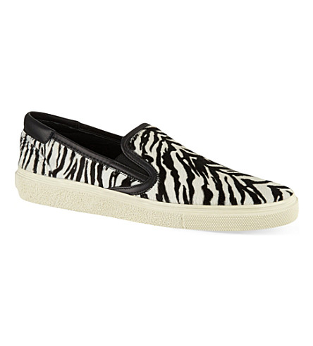 SAINT LAURENT Skate slip-on sneakers in zebra print ponyskin (Blk/white