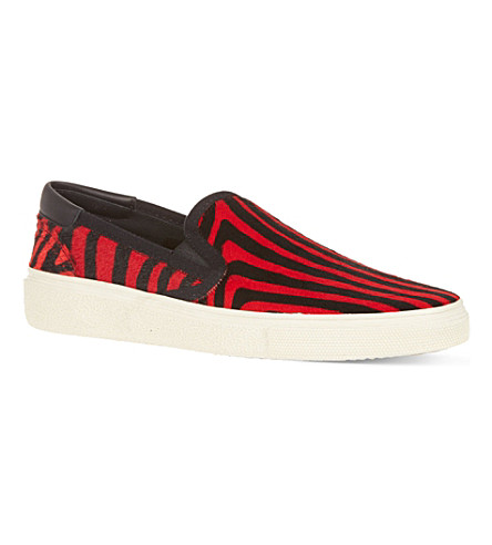 SAINT LAURENT Skate slip-on sneakers in red zebra print ponyskin (Blk/red