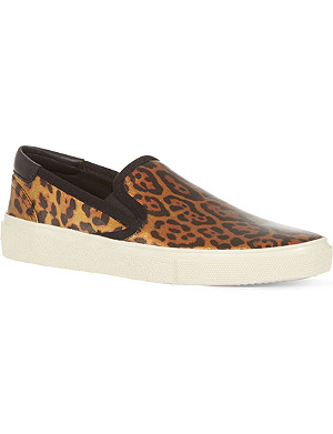 SAINT LAURENT Skate slip-on sneakers in gold and black leopard printed canvas