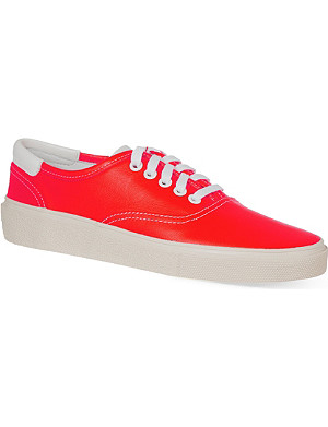 SAINT LAURENT Neon orange canvas sneakers