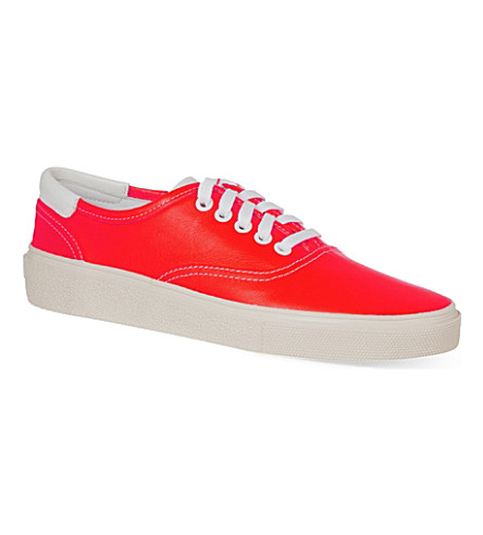 SAINT LAURENT Neon orange canvas sneakers (Orange