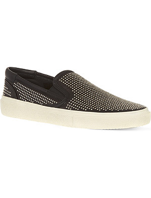 SAINT LAURENT Skate slip-on sneakers in studded canvas