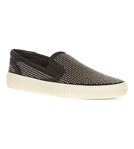SAINT LAURENT Skate slip-on sneakers in studded canvas (Black