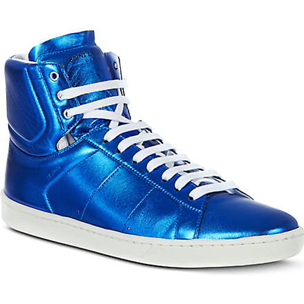 SAINT LAURENT Metallic high tops (Blue