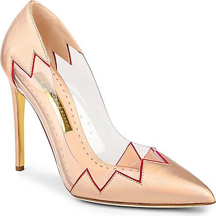 RUPERT SANDERSON Syra pointed leather court shoes (Peach