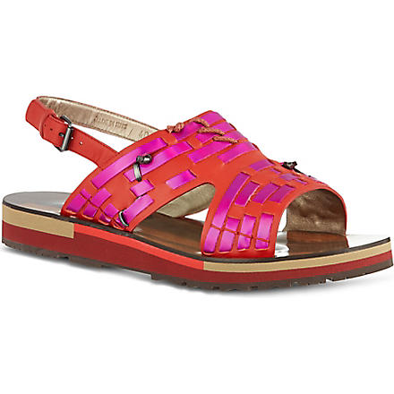 LANVIN Flat holographic slingback sandals (Red