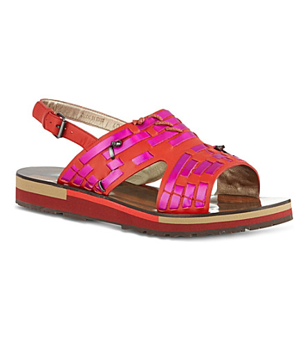 KURT GEIGER Flat holographic slingback sandals (Red