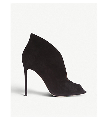 GIANVITO ROSSI Lombardy suede heeled ankle boots (Black