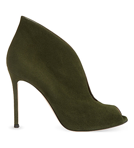 GIANVITO ROSSI Lombardy suede heeled boots (Dark+green