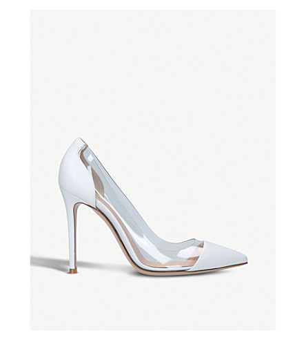 GIANVITO ROSSI Plexi 105 leather and PVC pumps (White