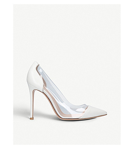 GIANVITO ROSSI Plexi 105 leather courts (White