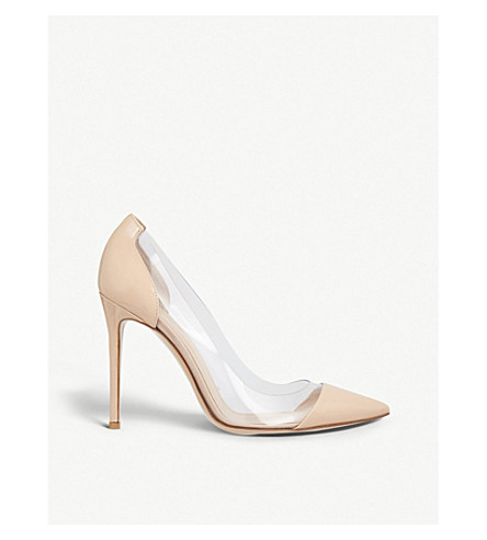 GIANVITO ROSSI Plexi 105 patent-leather courts (Nude