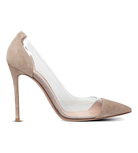 GIANVITO ROSSI Plexi 105 leather courts (Taupe