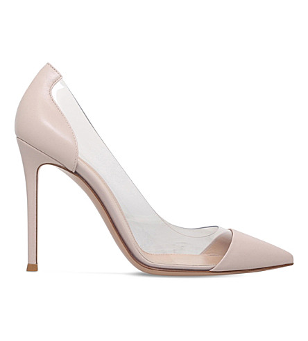 GIANVITO ROSSI Plexi 105 panelled leather courts (Pale+pink