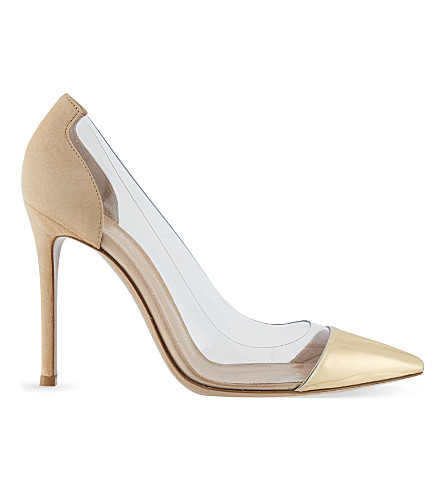 GIANVITO ROSSI Plexi 105 leather & suede courts (Gold