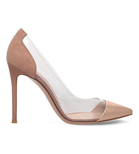 GIANVITO ROSSI Plexi 105 leather & suede courts (Bronze+com