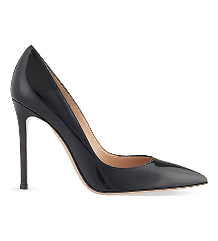 GIANVITO ROSSI Gianvito 105 patent-leather courts (Black