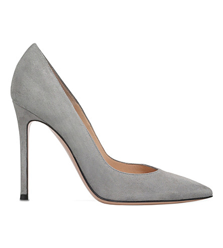 GIANVITO ROSSI Gianvito 105 suede courts (Grey+mid